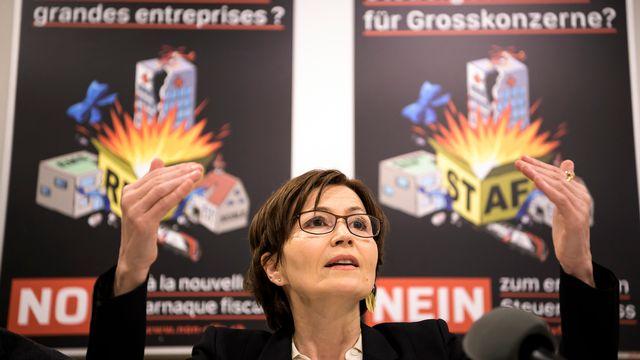 La présidente des Verts suisses Regula Rytz défend la position de l'alliance opposée à la réforme fiscale et le financement de l'AVS (RFFA). [Anthony Anex - Keystone]
