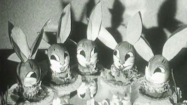 Le temps des oeufs et des lapins en chocolat en 1954. [RTS]