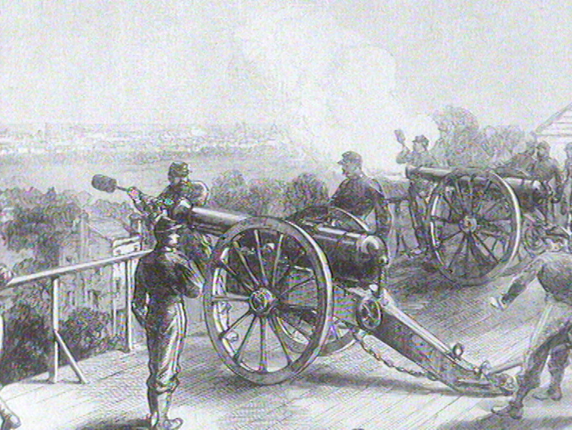 Les Versaillais tirent contre Paris qui a instauré la Commune, 1871.