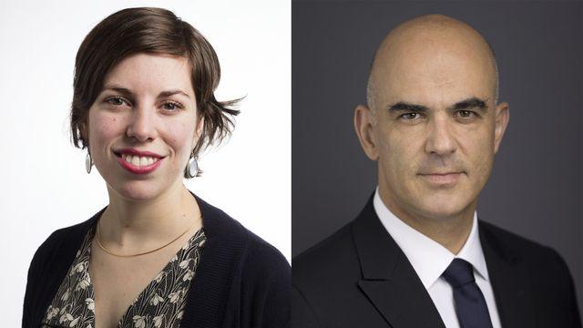 Lisa Mazzone et Alain Berset. [Gaetan Bally - Keystone]