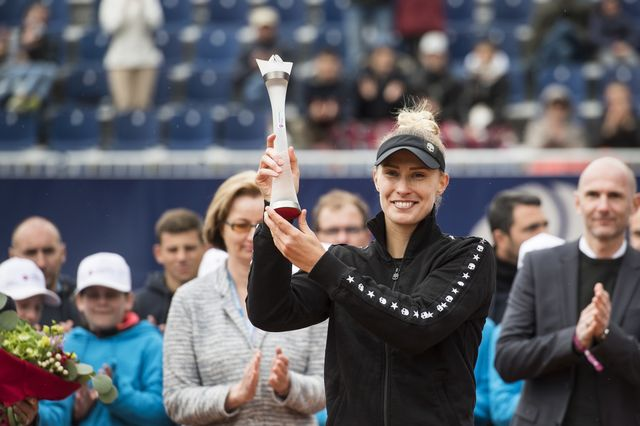 Polona Hercog a remporté le titre à Lugano au terme d'une finale serrée. [Alessandro Crinari - Keystone]