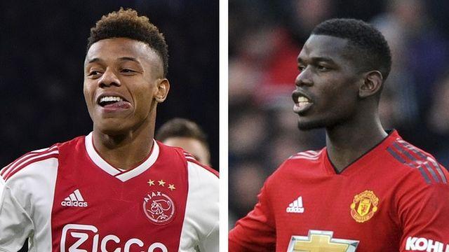 Le Brésilien de l'Ajax Amsterdam David Neres et le Français de Manchester United Paul Pogba. [M.Meissner/R.Vieira - Keystone]