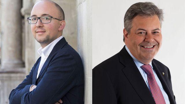 Alberto Mocchi, président des Verts vaudois et Marc-Olivier Buffat, chef de groupe PLR au Grand-Conseil. [Keystone]