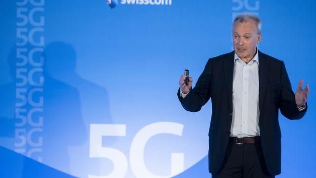 Urs Schaeppi, CEO de Swisscom, présente le réseau 5g de Swisscom [Ennio Leanza - Keystone]