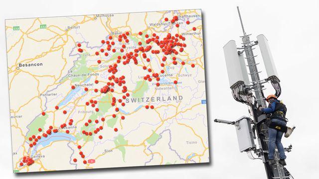 La carte des antennes 5G en Suisse. [RTS - Keystone]