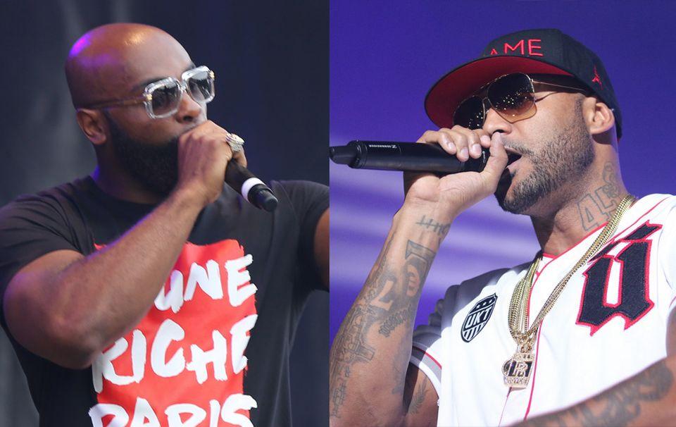 Les rappeurs français Booba (d.) et Kaaris (g.) devraient s'affronter en décembre prochain à Genève. [Wikimedia Commons]