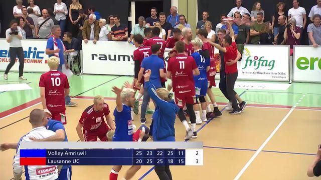 Finale messieurs, match 3: Amriswil – LUC (25-20, 23-25, 22-25, 25-18, 11-15) : le LUC est champion de Suisse! [RTS]