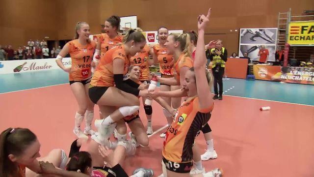 Finale dames, match 4: NUC – Aesch (25-21, 25-13, 25-11): les Neuchâteloises sont championnes de Suisse! [RTS]