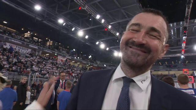 Finale messieurs, Lions de Genève – Fribourg Olympic (73-82): Petar Aleksic satisfait après la victoire fribourgeoise [RTS]