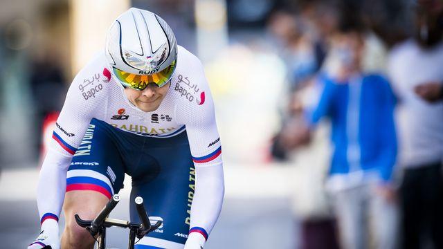 Jan Tratnik a signé sa première victoire sur le World Tour à Neuchâtel. [Jean-Christophe Bott - Keystone]