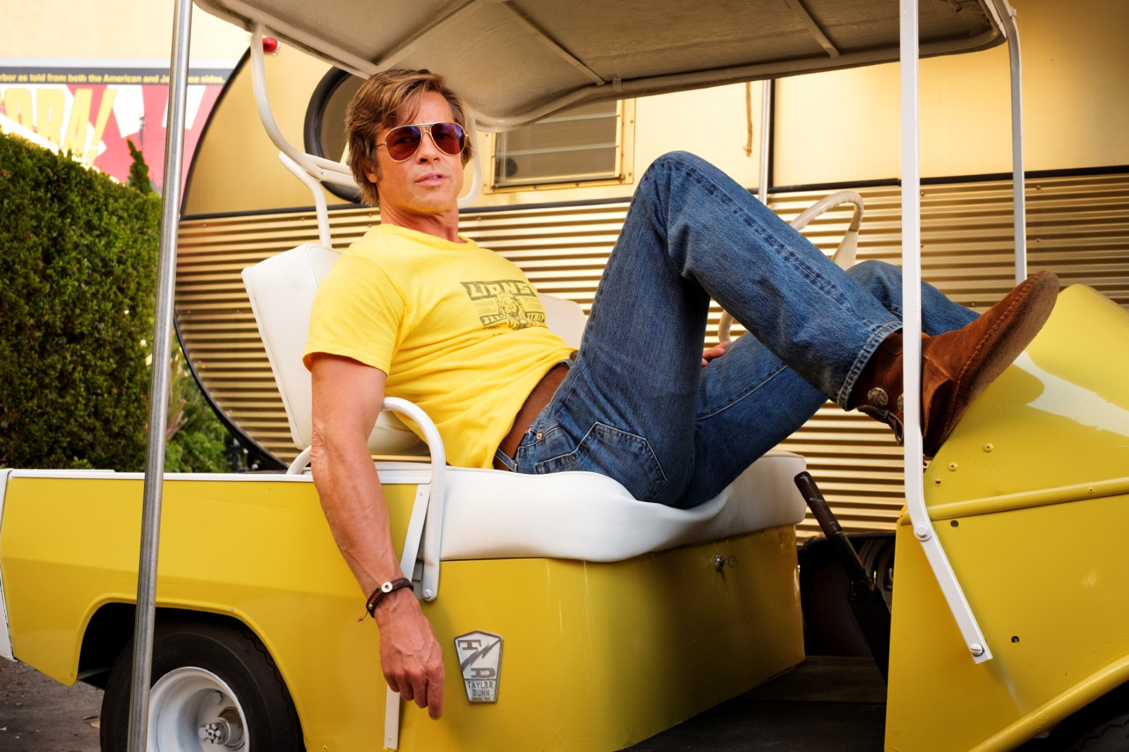 "L'acteur Brad Pitt dans le film ""Once Upon a Time... in Hollywood"" de Tarantino."