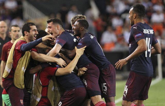 La joie des Londoniens qui ont assuré leur qualification pour la finale. [Alberto Saiz - Keystone]