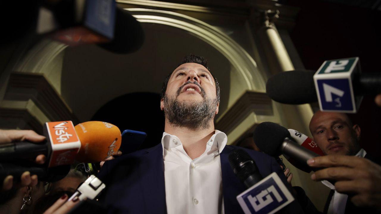 Matteo Salvini est partout sur les chaînes publiques de la Rai depuis son arrivée au pouvoir l'an passé. [Luca Bruno - AP Photo/Keystone]