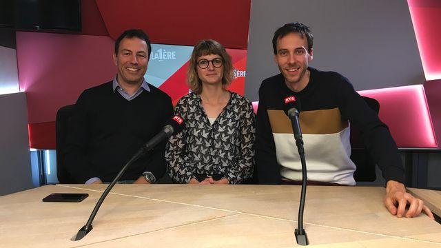 """Olivier Dessibourg, Aurélie Coulon et Stéphane Gabioud lors de l'émission """"Médialogues"""" du 11 mai 2019. [Antoine Droux - RTS]"""