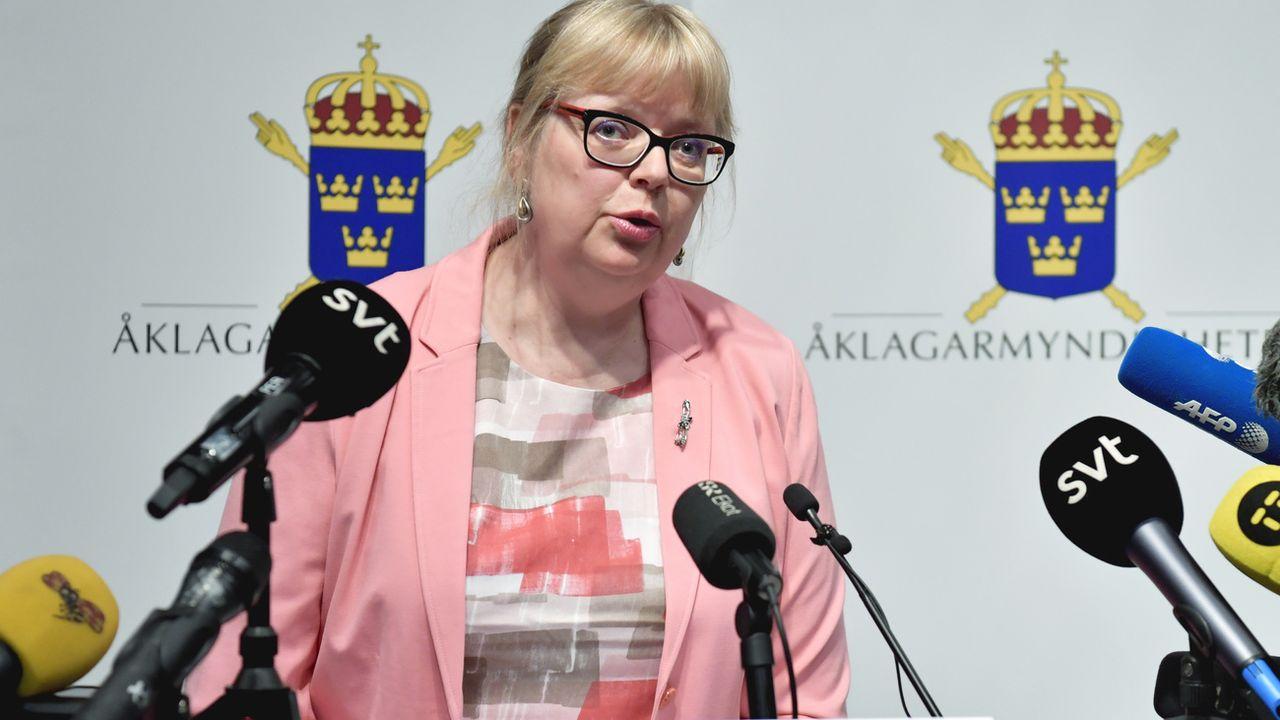 """""""J'ai décidé aujourd'hui de rouvrir l'enquête"""", a annoncé Eva-Marie Persson, procureure adjointe suédoise. [Anders Wiklund - Keystone/TT News Agency via AP]"""