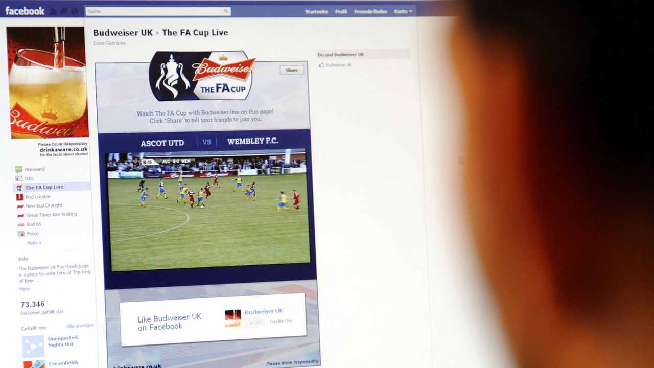 Un internaute regarde un match de football en direct sur Facebook. (Image d'illustration) [Gerit Borth - dapd]