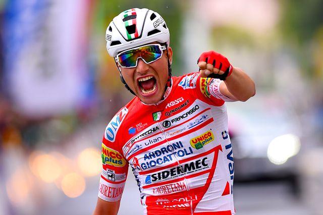 La joie de Fauto Masnada, victorieux de la sixième étape. [Dario Belingheri - AFP]
