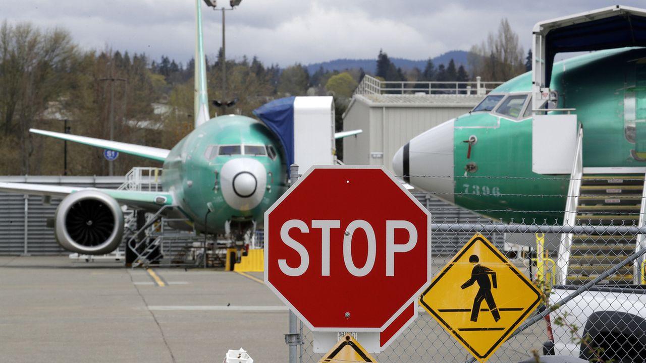 Des Boeing 737 MAX immobilisés sur un site de la compagnie américaine à Renton, dans l'Etat de Washington, le 8 avril 2019. [AP Photo/Elaine Thompson - Keystone]