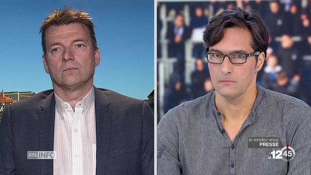 Rendez-vous de la presse: Laurent Favre (Le Temps) et Joël Robert (RTS Sport) débattent de la violence dans les stades suisses. [RTS]