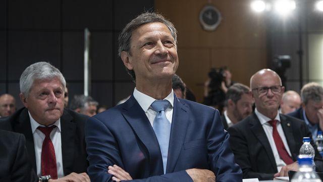 Blanc lors de son élection à la présidence de l'Association suisse de football. [Peter Schneider - Keystone]