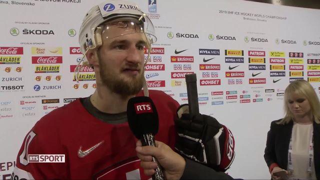 Groupe B, République tchèque – Suisse (5-4): la réaction de Tristan Scherwey, homme du match, après son doublé [RTS]
