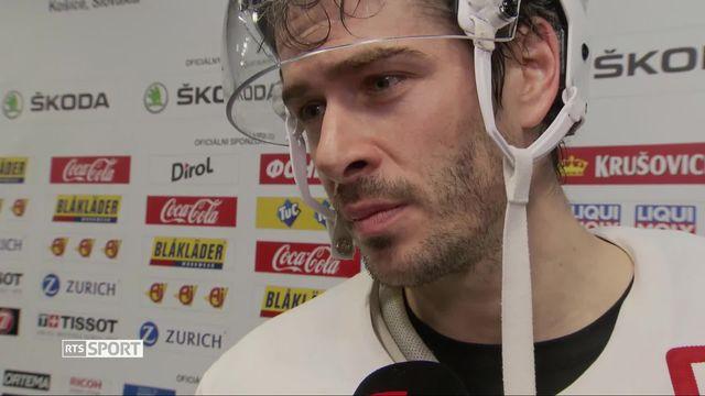 1-4, Canada – Suisse (3-2 ap): Raphael Diaz, capitaine de l'équipe de Suisse, au micro de RTSsport après le match [RTS]