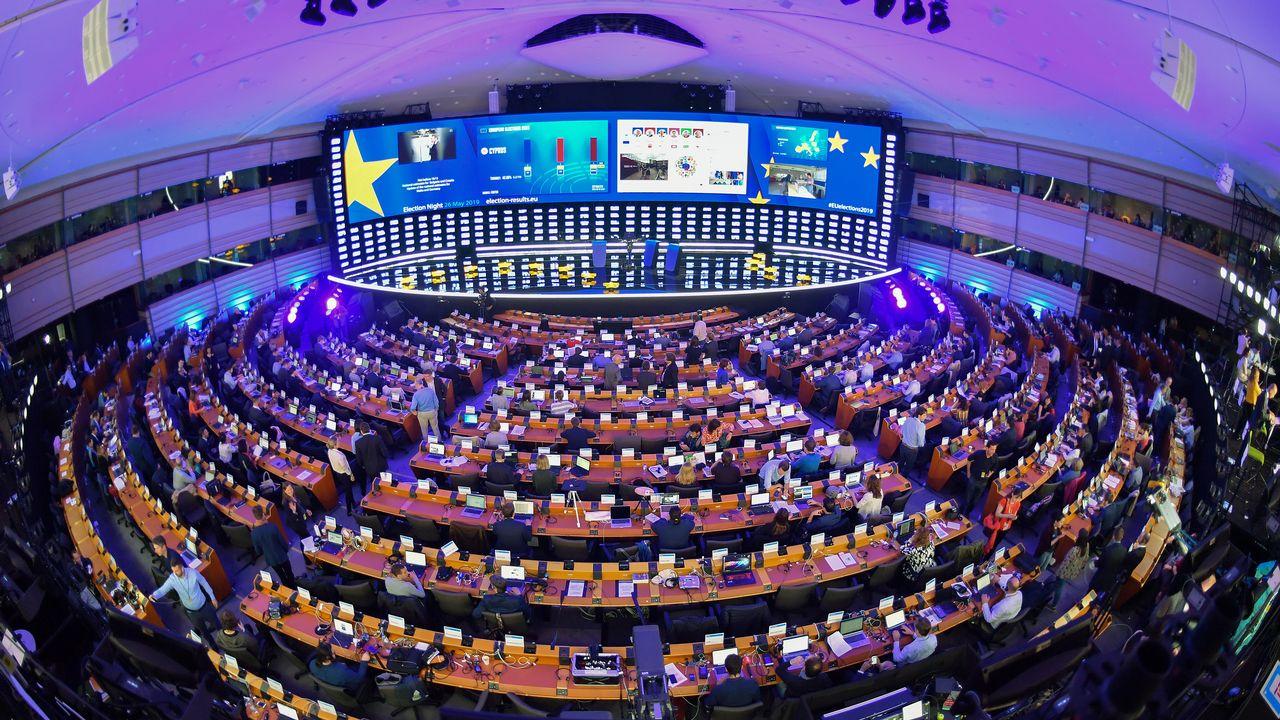 Vue sur l'hémicycle du Parlement européen transformé en centre de presse pour les élections du 26 mai 2019. [Emmanuel Dunand - AFP]
