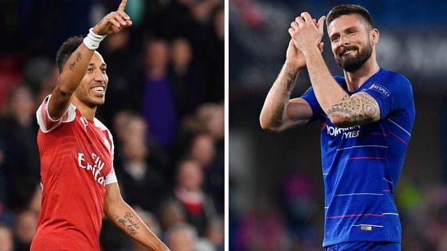 Aubameyang et Giroud ont été prolifiques cette saison en Europa League avec 8 et 10 goals. [Will Oliver - Keystone]