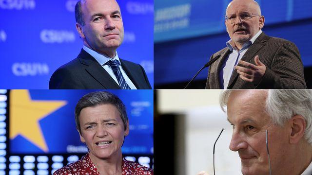 Manfred Weber (conservateurs), Frans Timmermans (socialistes), Margreth Vestager (libéraux) et Michel Barnier (conservateurs) sont les prétendants à la présidence de la Commission européenne. [Philipp Guelland, Olivier Hoslet, Petros Karadjas - EPA/AP]