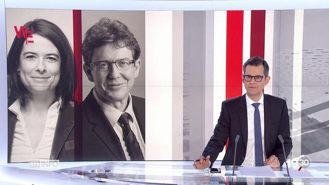 Fédérales 2019: Les président-e-s de parti Petra Gössi (PLR) et Albert Rösti (UDC) s'intéressent aux véhicules à hydrogène. [RTS]