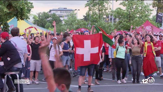 À Genève, le match Suisse-Portugal a fait vibrer la fan zone de la Praille. [RTS]