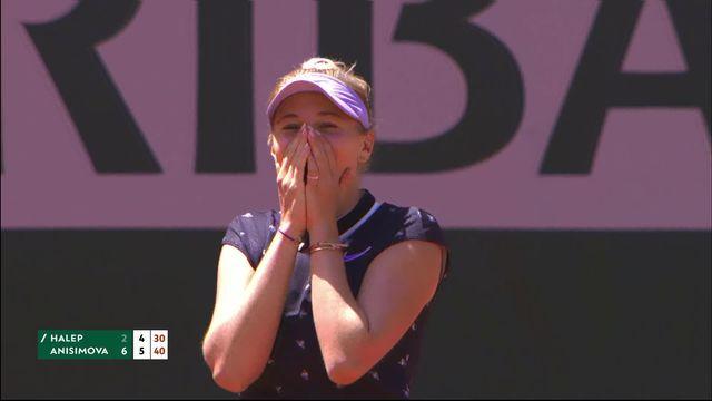 1-4, S.Halep (ROU) – A.Anisimova (USA) 2-6, 4-6: à 17 ans, Anisimova sort Halep et passe en 1-2! [RTS]