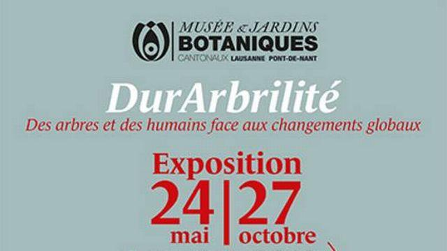 """L'affiche de """"DurArbrilité"""", exposition au Musée et Jardins Botaniques cantonaux. [DR - botanique.vd.ch]"""