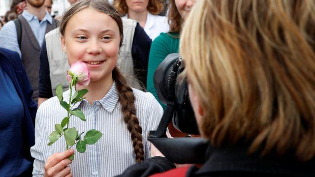 Greta Thunberg lors d'une manifestation pour le climat, à Vienne (Autriche), le 31 mai 2019. [Leonhard Foeger - Reuters]