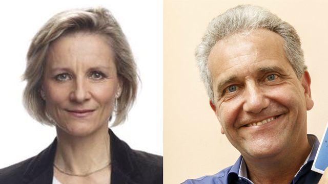 Débat entre les députés au Grand Conseil genevois Simone de Montmollin (PLR) et Jean Rossiaud (Les Verts). [Keystone/PLR GE]