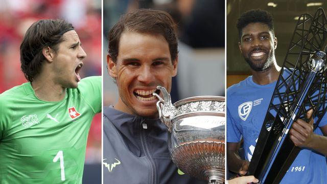 Le top-3 du week-end: Yann Sommer, Rafael Nadal et Babacar Toure. [J-C.Bott/M.Euler/S.Di Nolfi - Keystone]