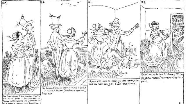 """Planche 13 du livre """"Histoire de Monsieur Cryptogame"""" par Rodolphe Töpffer (1830). [wikipédia]"""