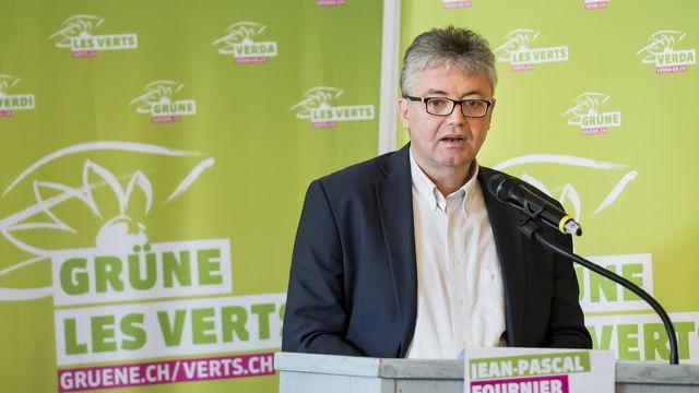 Jean-Pascal Fournier lors de l'assemblée des délégués des Verts suisse, le 6 avril 2019, à Sierre. [Jean-Christophe Bott - Keystone]