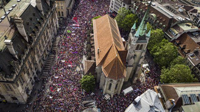 La place Saint-François à Lausanne lors de la grève des femmes du 14 juin 2019. [Valentin Flauraud - Keystone]