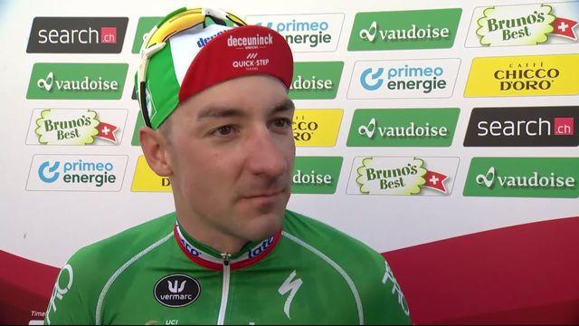 Münchenstein - Einsiedeln (SUI), 5e étape: interview du vainqueur, Viviani (ITA), après la course [RTS]