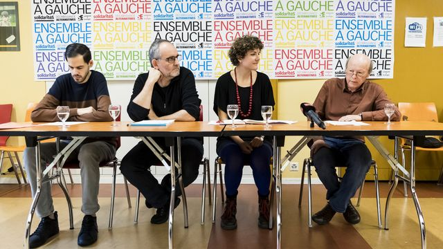 Onurhan Kuecuek, Yvan Luccarini, Franziska Meinherz et Jean-Michel Dolivo. [Jean-Christophe Bott - Keystone]