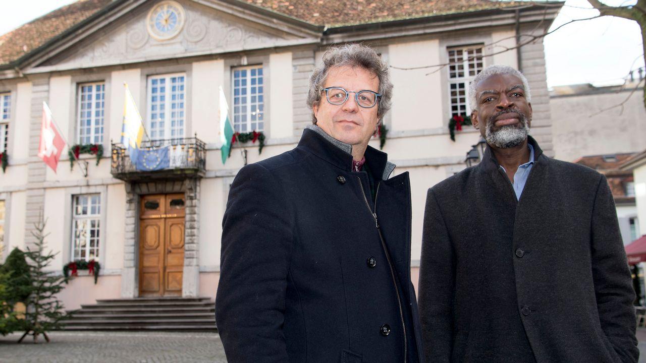 Les deux municipaux veveysans suspendus Michel Agnant et Jérôme Christen. [Laurent Gillieron - Keystone]