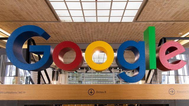 Le logo de Google dans les locaux du groupe à Berlin. [Hayoung Jeon - EPA]