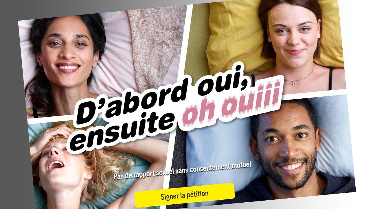 Amnesty International lance une campagne de sensibilisation sur le consentement mutuel lors d'un rapport sexuel. [stop-violences-sexuelles.amnesty.ch/fr/]