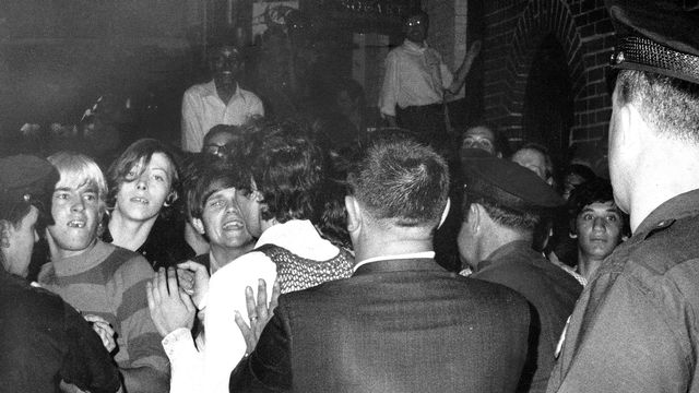 Stonewall Inn nightclub raid. Crowd attempts to impede polic UNITED STATES - JUNE 28: Stonewall Inn nightclub raid. Crowd attempts to impede police arrests outside the Stonewall Inn on Christopher Street in Greenwich Village. (Photo by NY Daily News Archive via Getty Images) [NY Daily News Archive -  Getty Images]