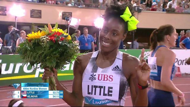Lausanne (SUI), 400m haies dames: victoire de Little (USA), Sprunger (SUI) 5e [RTS]