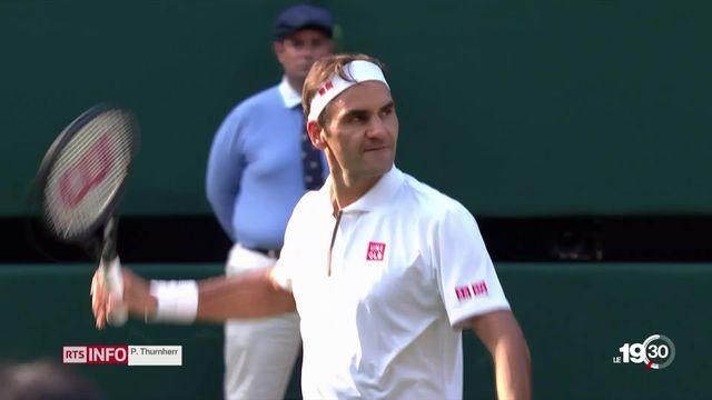 À Wimbledon, Federer signe sa 100e victoire sur le gazon londonien face à Nishikori. [RTS]