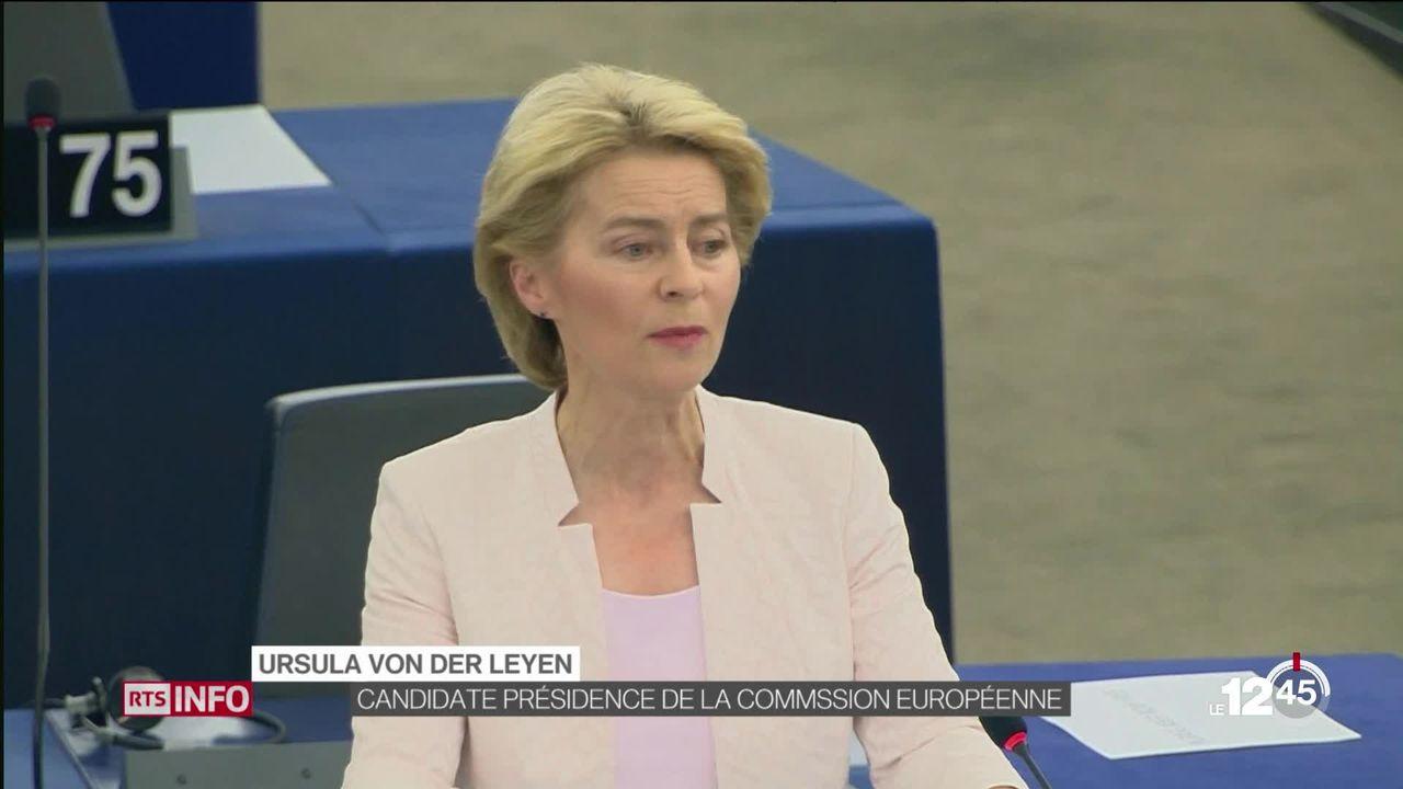 UE: Ursula Von der Leyen devant le Parlement européen pour se faire élire à la tête de la Commission. [RTS]