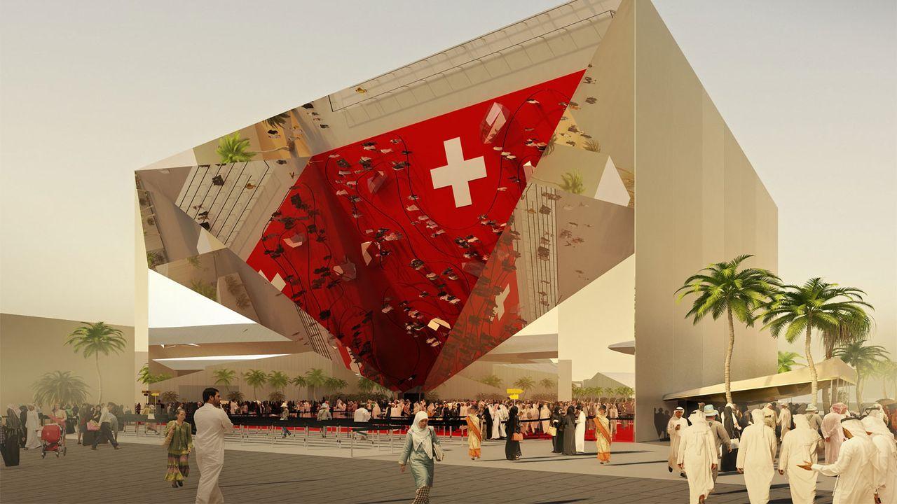 Image de synthèse du futur pavillon suisse à l'exposition universelle de Dubaï. [House of Switzerland]