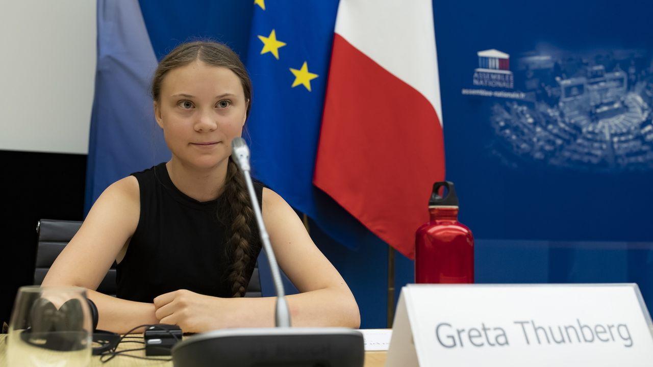 Greta Thunberg le 23.07.2019 devant l'Assemblée nationale française à Paris. [Ian Langsdon - EPA/Keystone]